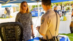 Asm. Irwin speaks with CHP officer