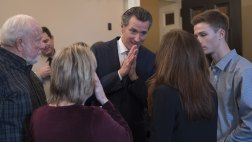 Gov. Newsom speaks with family